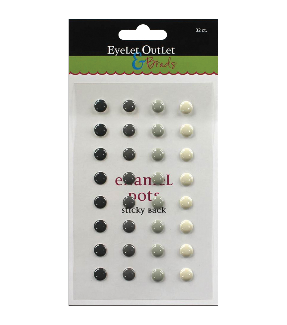 Eyelet Outlet Sticky Back Enamel Dots 32 pcs
