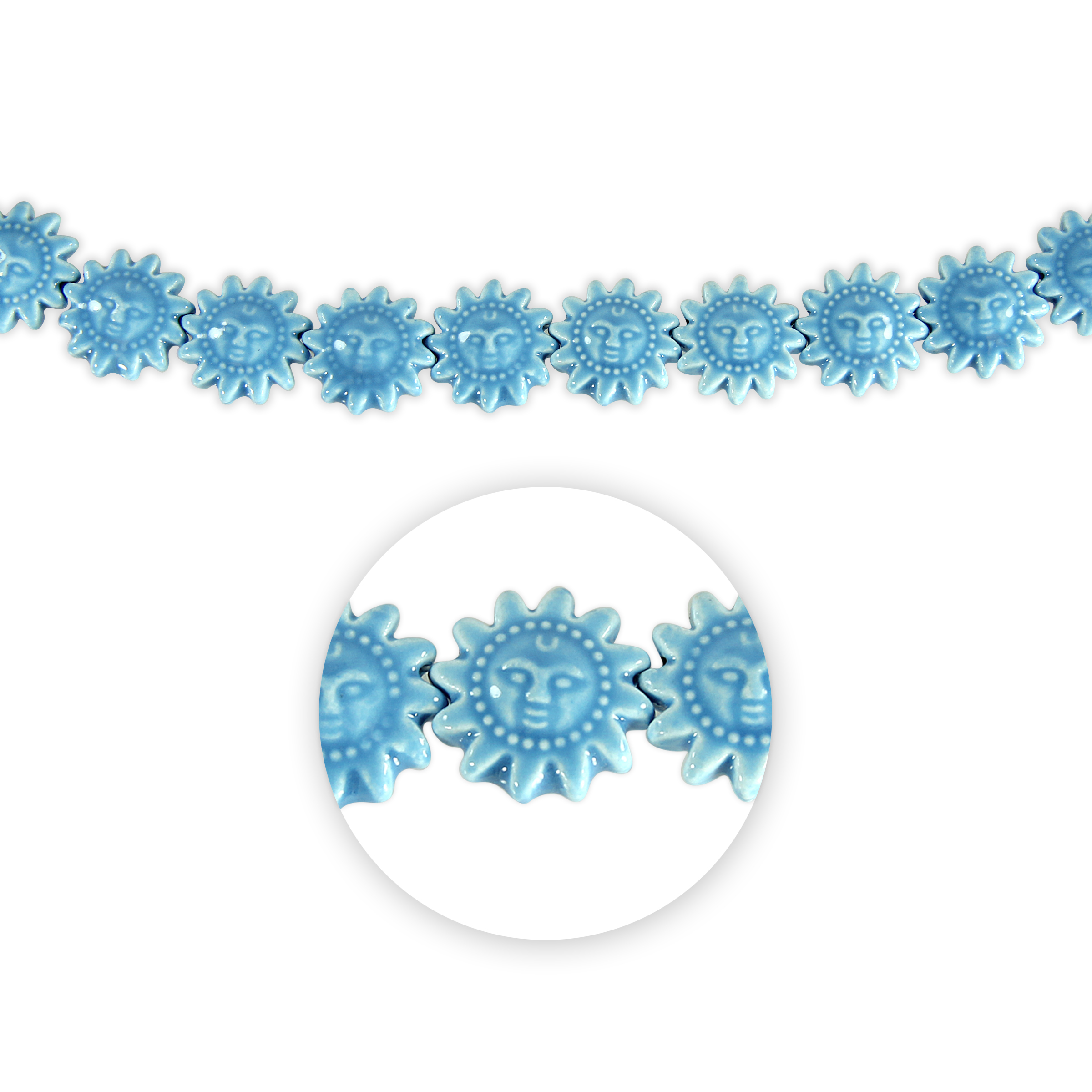 Blue Moon Beads Strand 7\u0022 Ceramic Sun, Light Blue