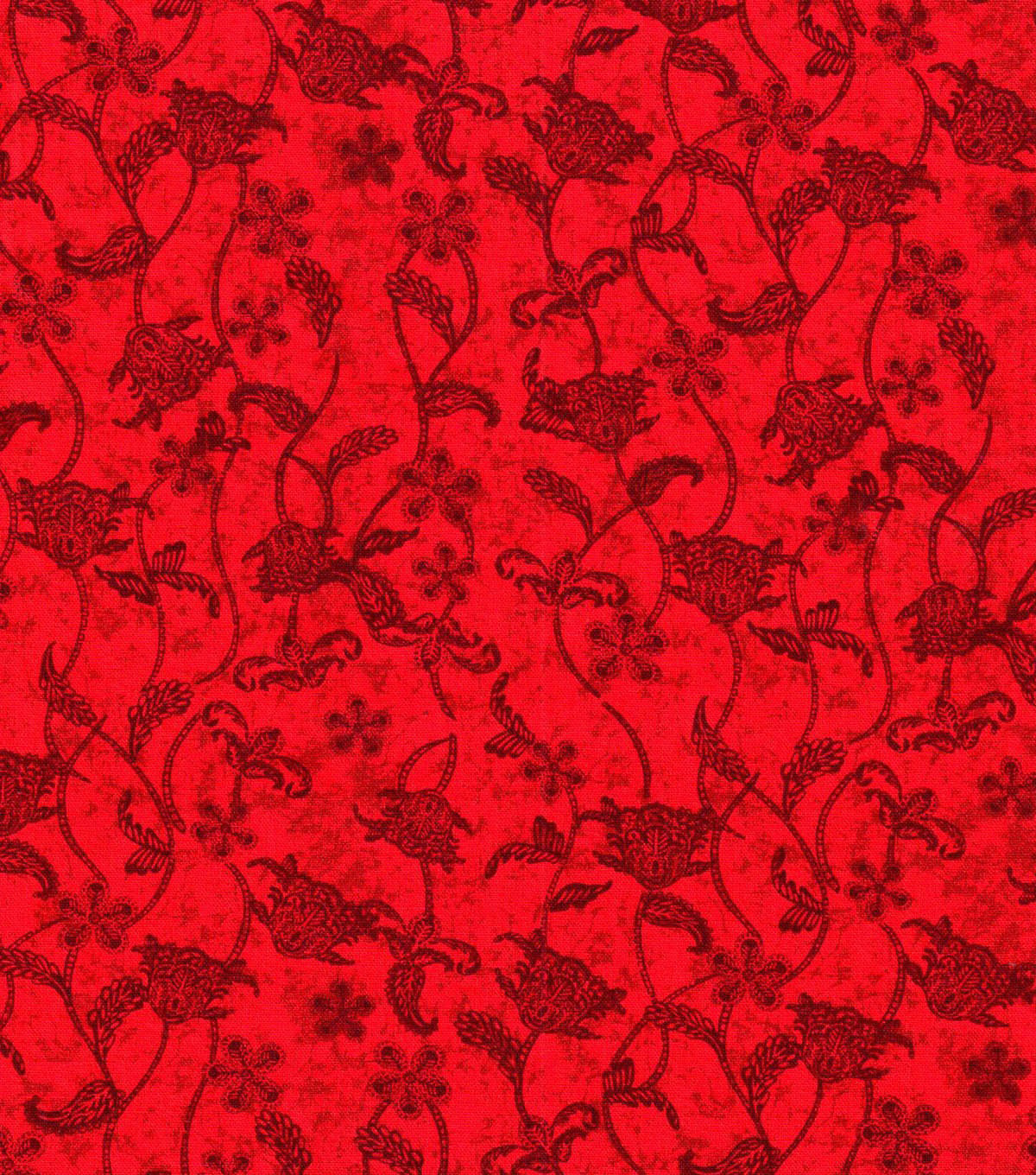 Keepsake Calico™ Cotton Fabric 43\u0022-Red Jacobian Vine