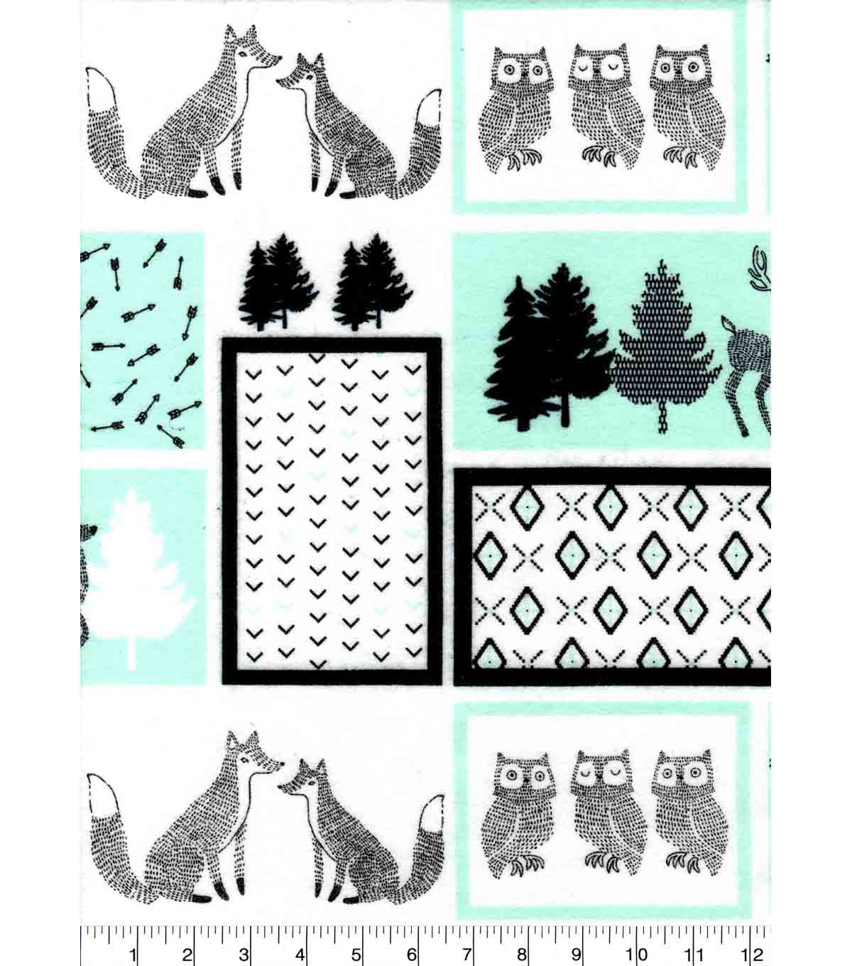 Nursery Flannel Fabric 42\u0027\u0027-Mint, Black & White Woodland Patch