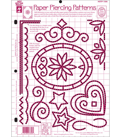 "Hot Off The Press 8-1/2""x11"" Template-Paper Piercing Patterns"