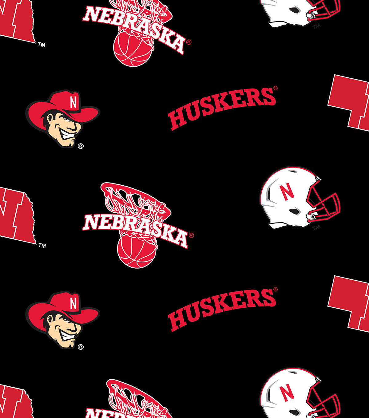 University of Nebraska Cornhuskers Cotton Fabric 44\u0022-Allover Block