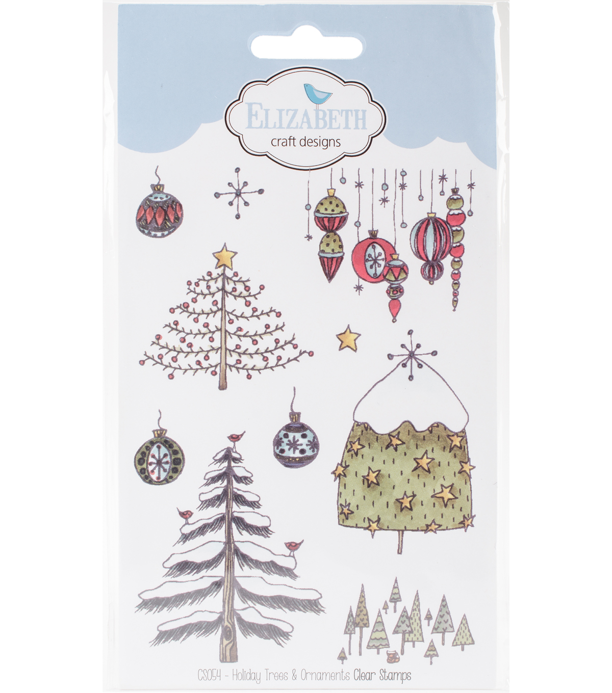 Elizabeth Crafts Clear Stamps-Holiday Trees & Ornaments