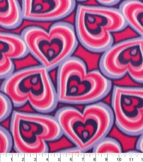 Blizzard Fleece Fabric 59\u0022-Pink Purple Hearts