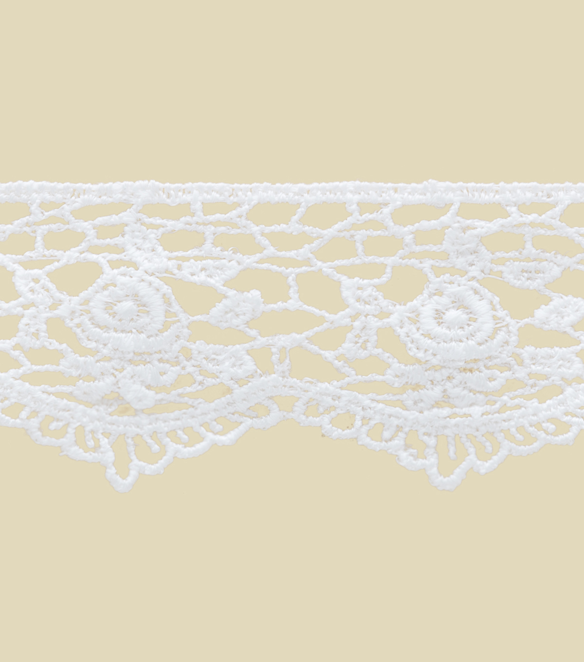 1.5\u0022 White Rose Lace Apparel Trim