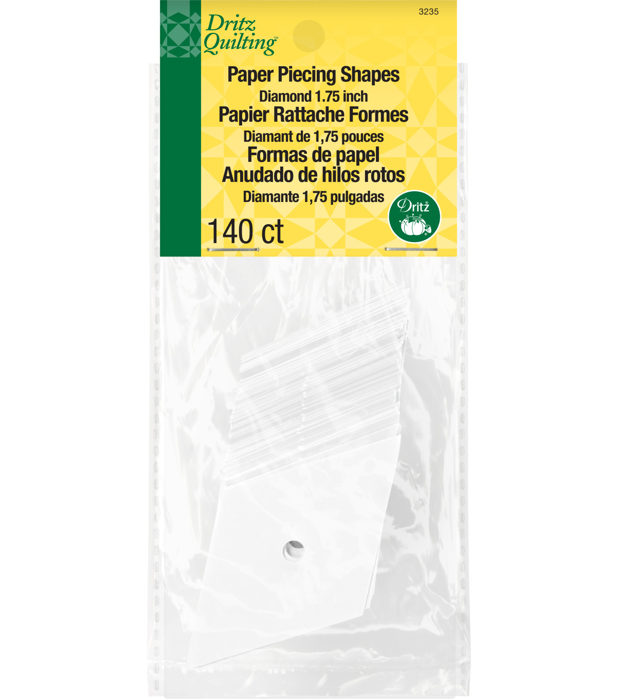 Dritz Quilting Paper Piecing 60 Degree Diamond 140 Pack 1.7\u0022