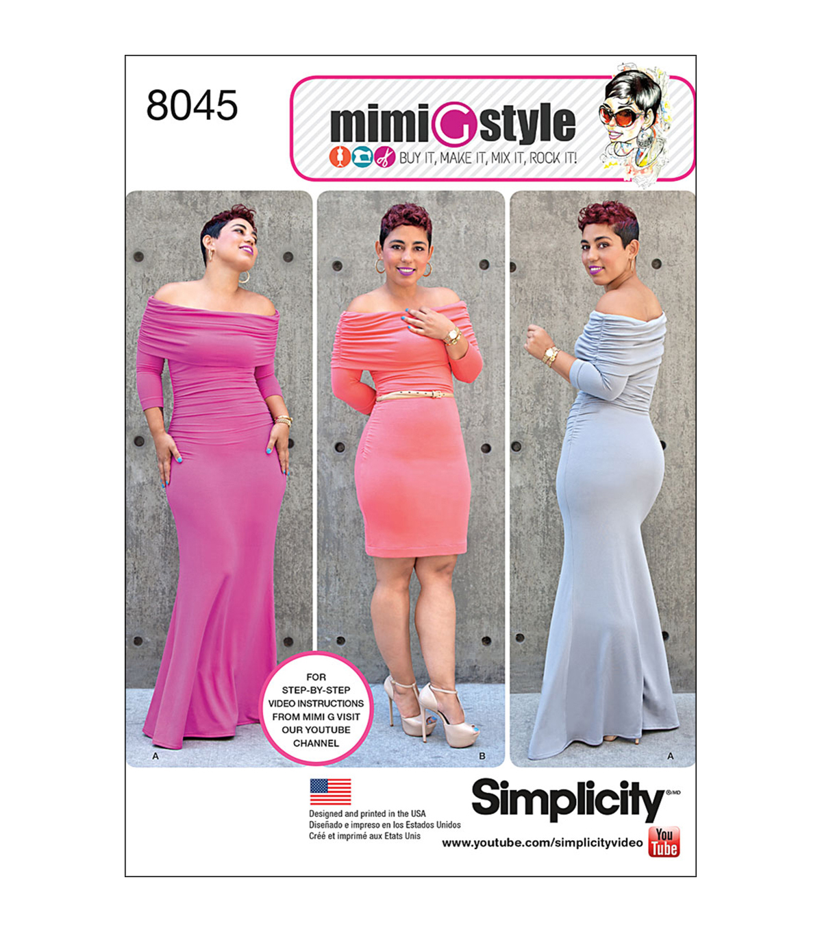 Simplicity Patterns Us8045Aa-Simplicity Miss And Plus Size Knit Dress From Mimi G Style-10-12-14-16-18