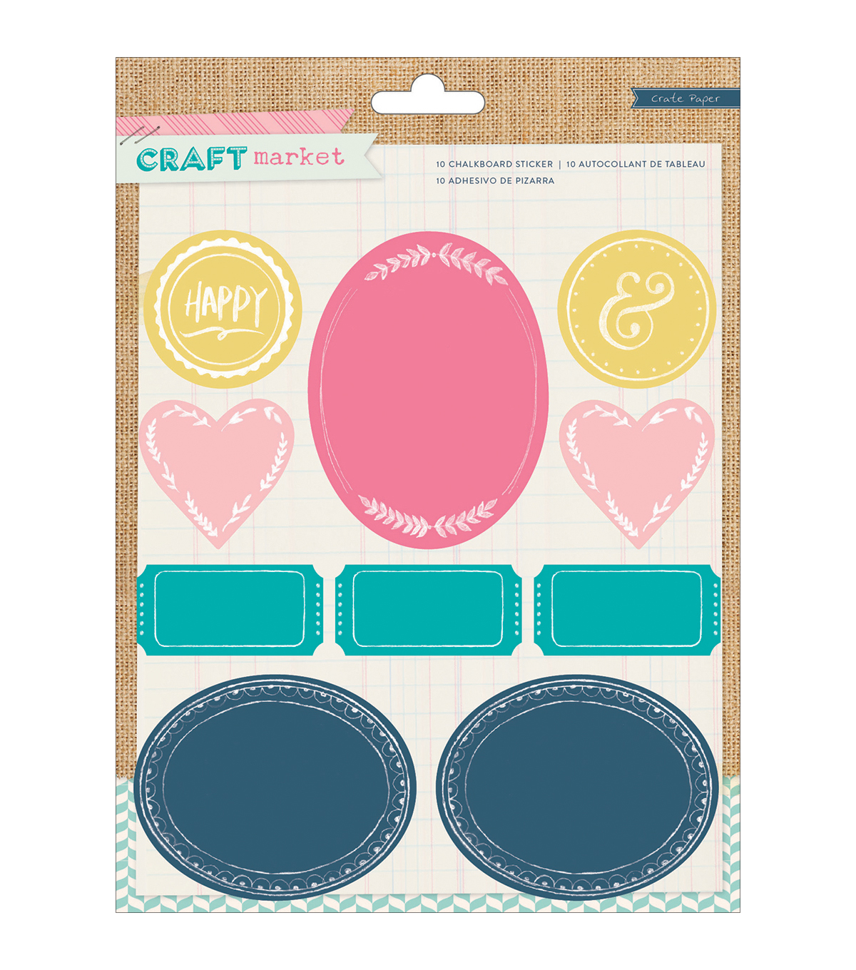 Crate Paper Craft Market Colored Chalkboard Stickers