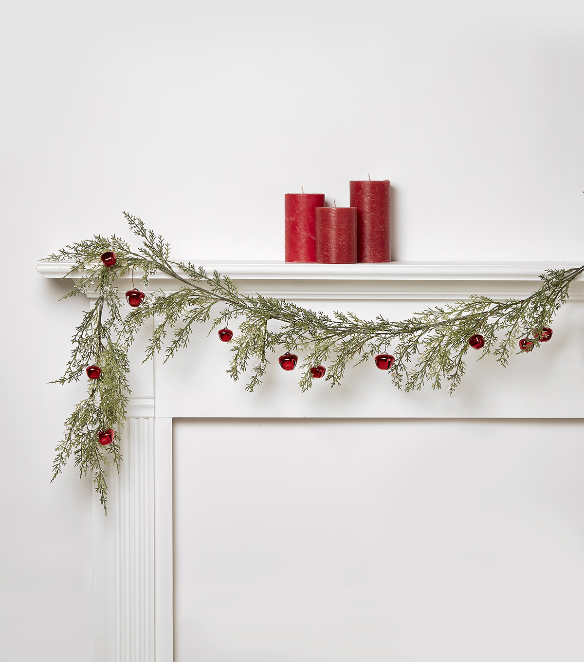 Blooming Holiday Snow & Cypress Bell Garland-Red