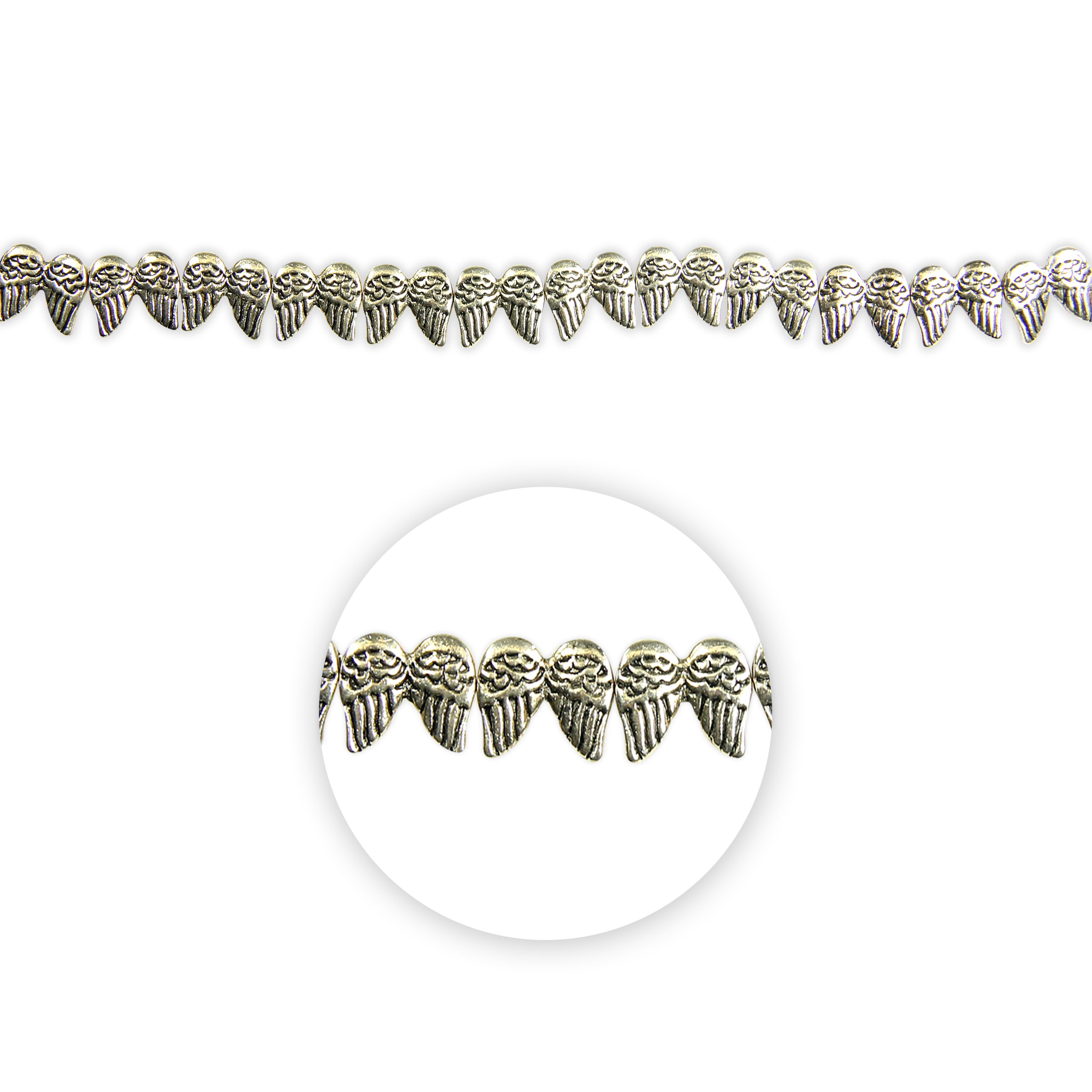 Blue Moon Beads Strand 7\u0022 Metal Angel Wings, Silver