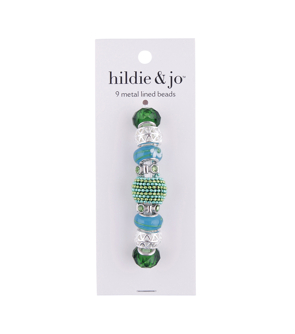 hildie & jo™ Mix & Mingle Metal Lined Glass Beads-Green & Blue
