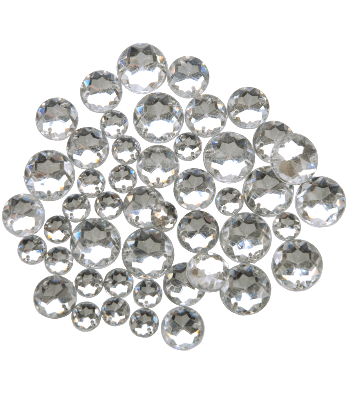Blumenthal Lansing-Favorite Findings Sew-On Round Gems-Clear 47/Pkg