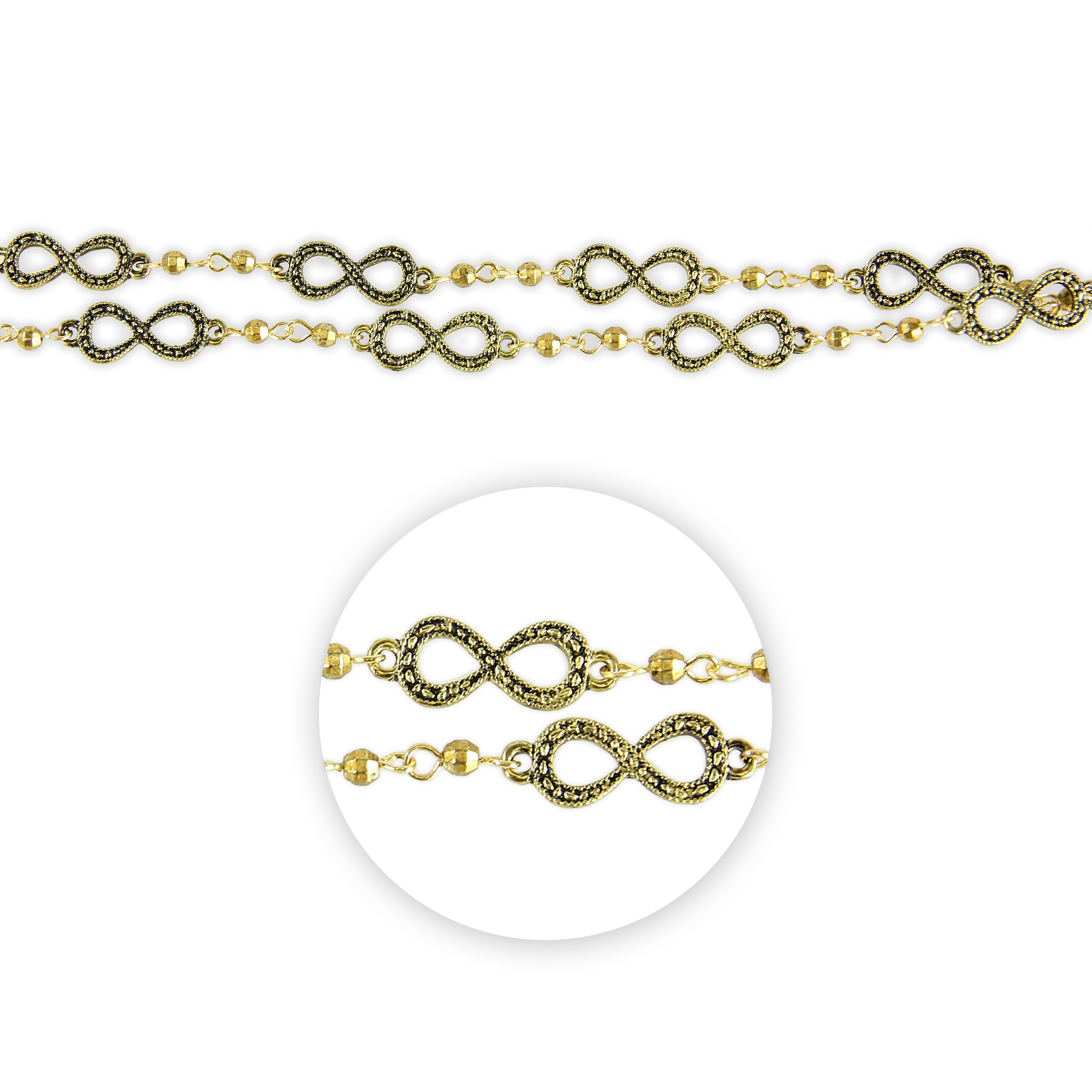 Blue Moon Beads Connector Strand 14\u0022Metal Infinity, Antique Gold