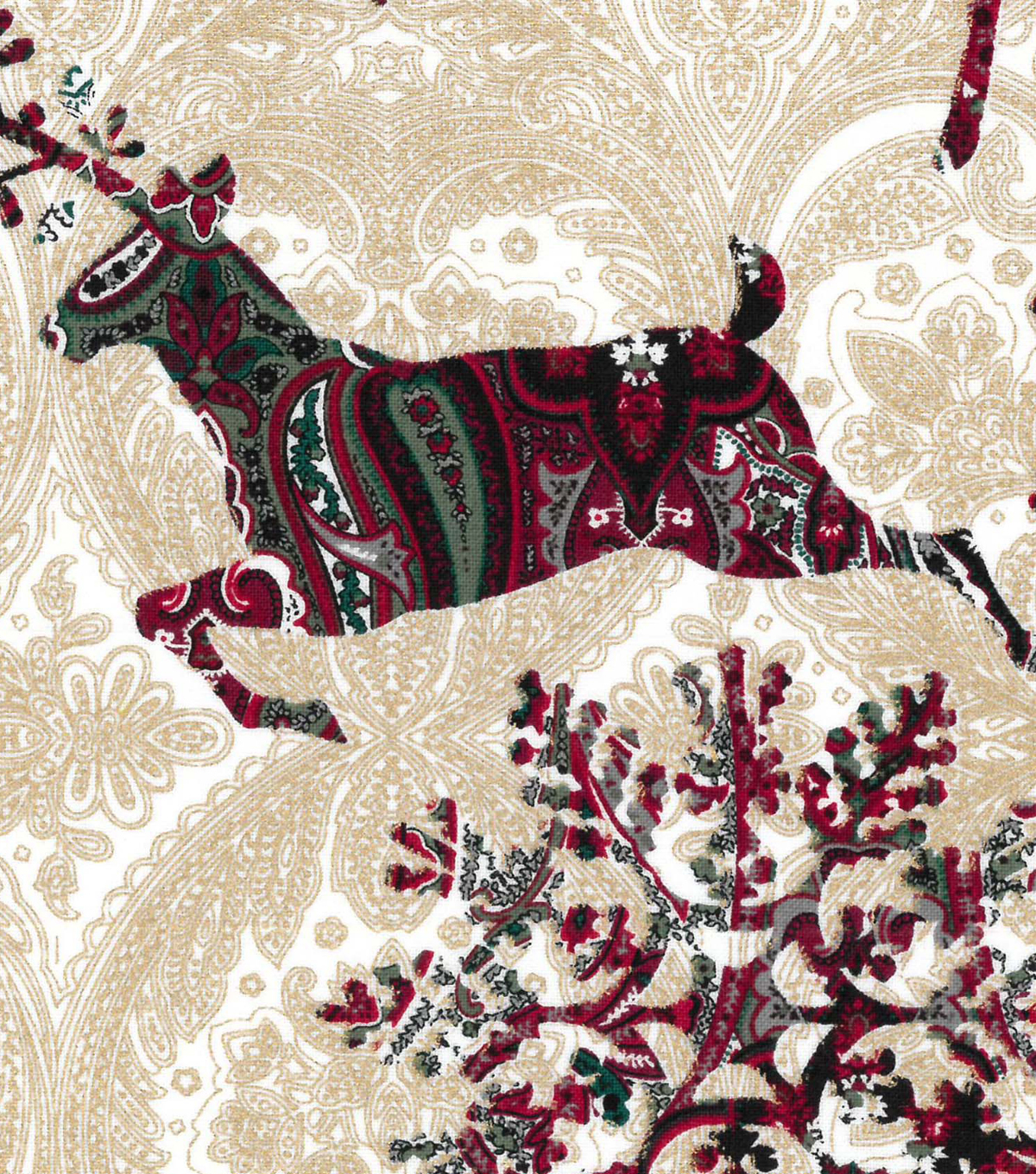 "Maker's Holiday Cotton Fabric 43""-Patterned Deer and Flakes"