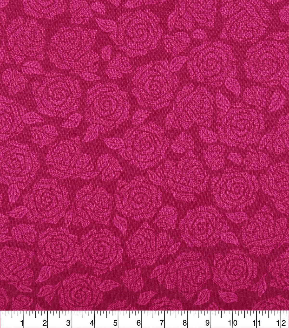 Wide Quilt Cotton Backing Fabric 108\u0022-Beetroot Purple Packed Roses