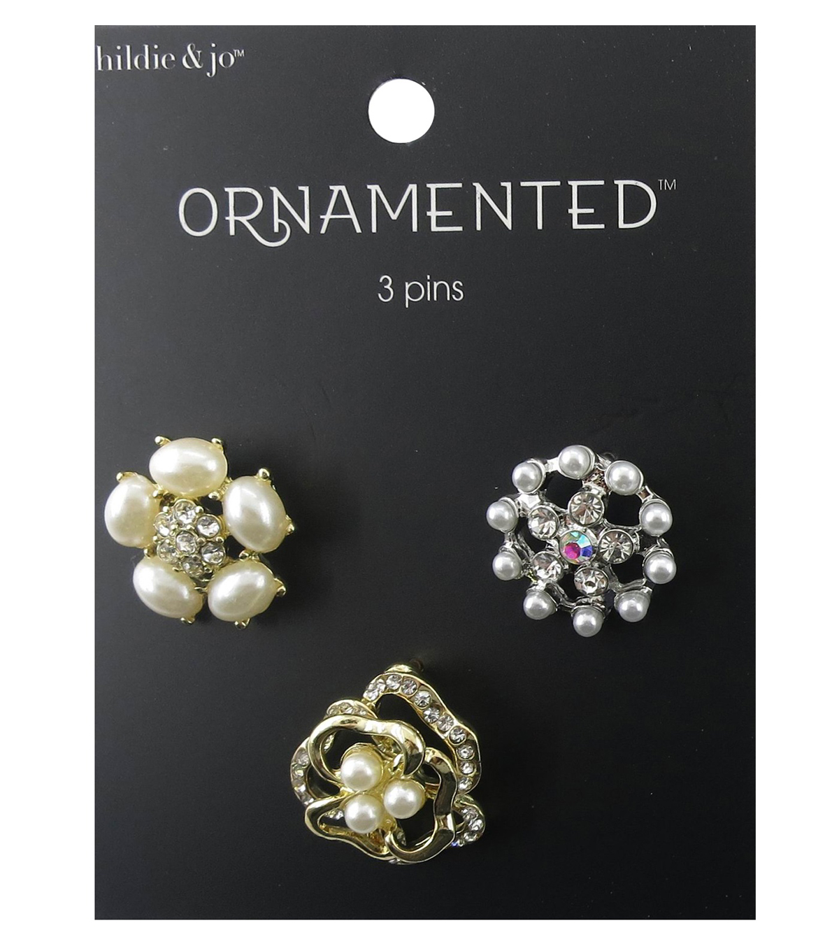hildie & jo™ Ornamented 3 Pack Flowers Silver & Gold Pins