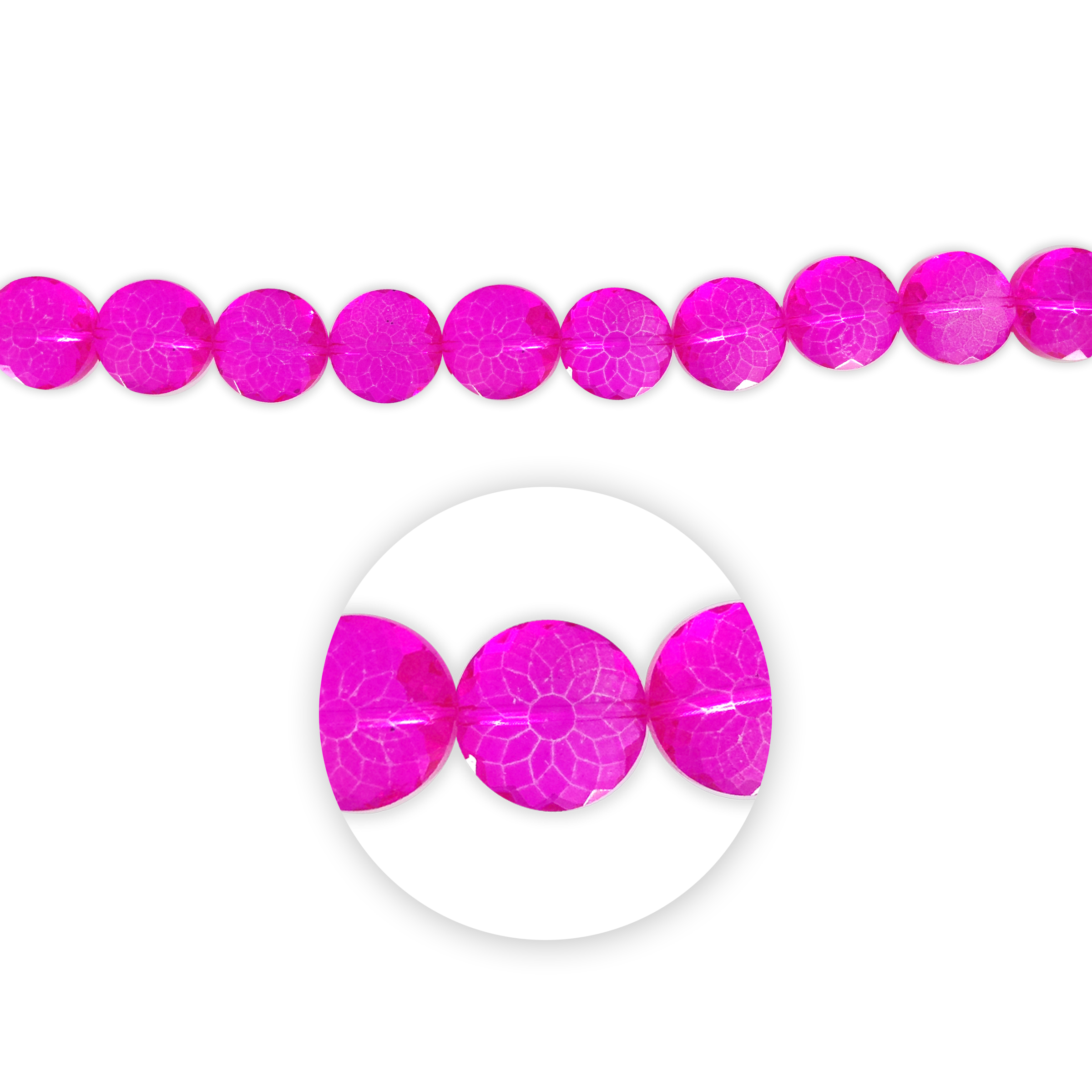 Blue Moon Beads 7\u0022 Crystal Strand, Coin-Shaped, flower facets, Fuchsia