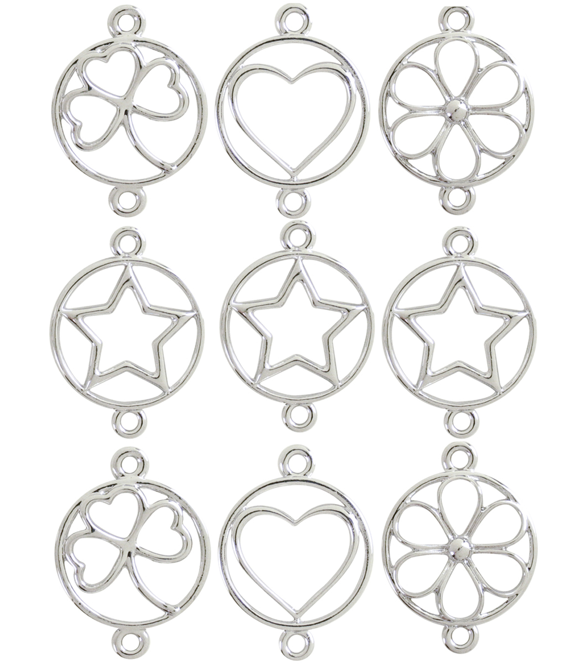 Jewelry Basics Metal Charms 9/Pk-Silver Shapes