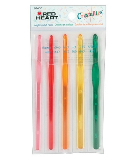Red Heart Crystalites Acrylic Crochet Hook Set-Sizes G6 To K10.5