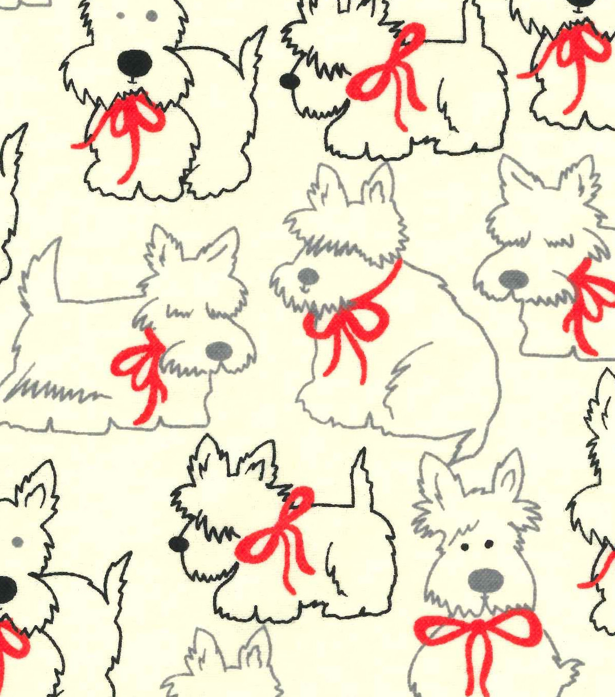 Snuggle Flannel Fabric 42\u0022-Scotties In Red Bows