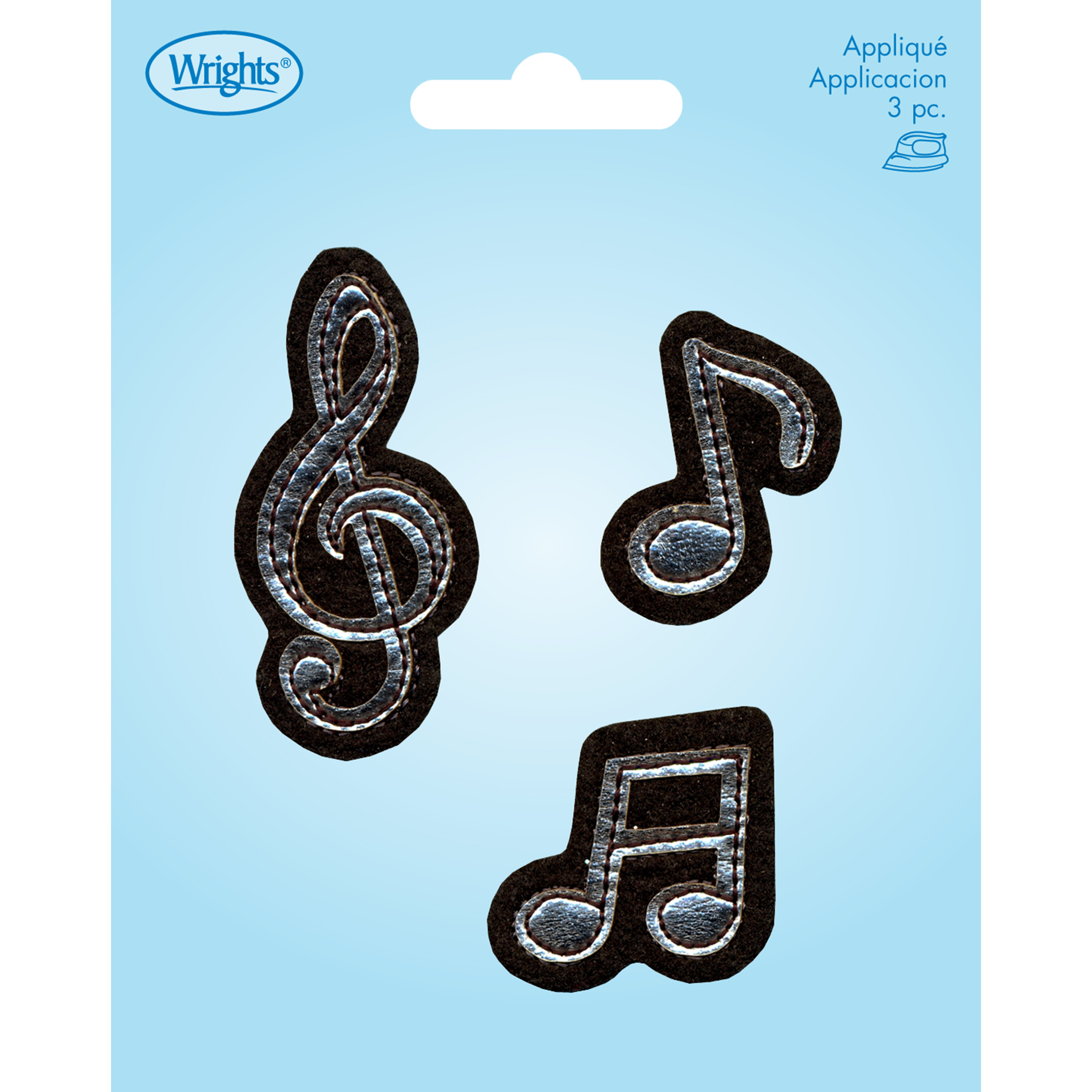 Wrights® Iron-On Applique-Music Note-Black & Silver