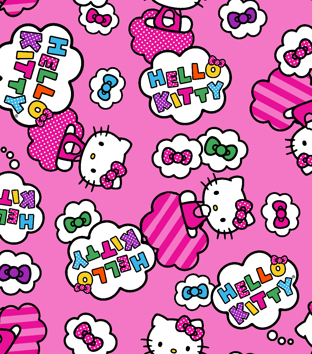 Hello Kitty® Fleece Fabric 59\u0022-Clouds And Bows