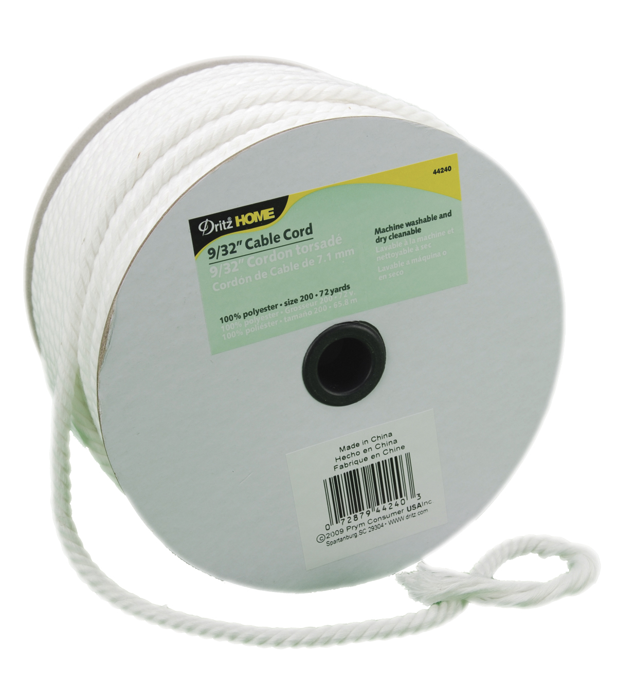 Dritz Cable Cord 9/32\u0022X72yd-White