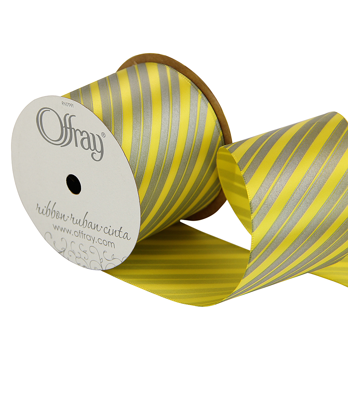 "Offray 2.25"" x 9' Diagonal Stripe Ribbon-Gray/Yellow"