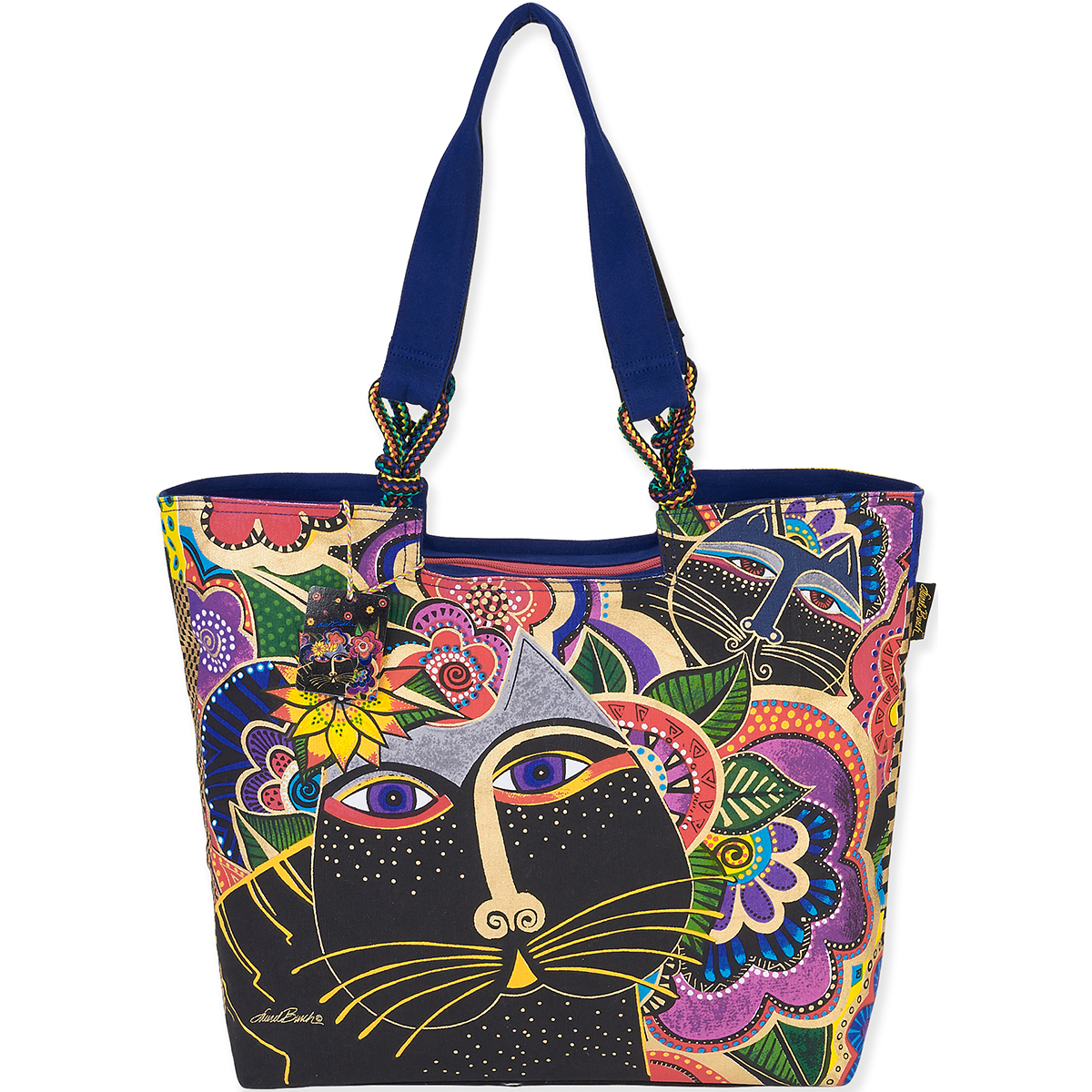 Laurel Burch Tote- Shoulder Tote 21\u0022X5\u0022X15\u0022 Carlotta\u0027s Cats