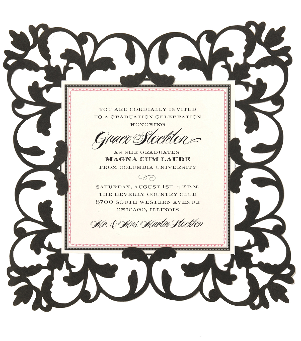 Anna Griffin Black Laser Cut Square Custom Invitation