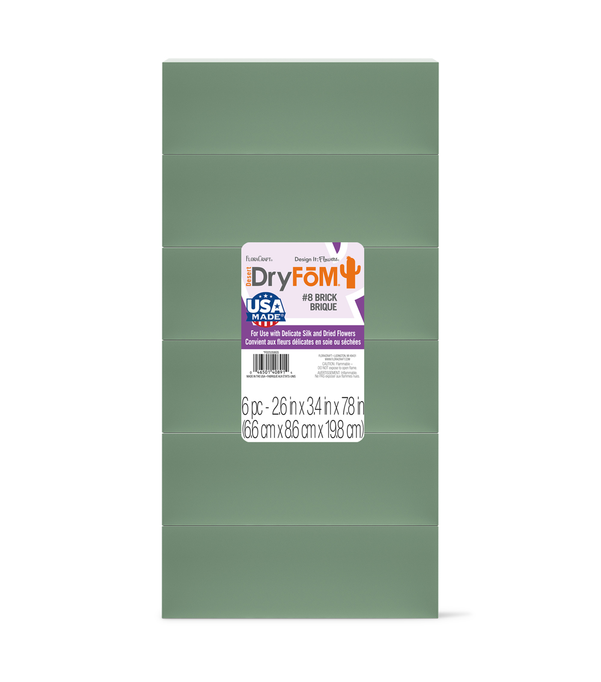 Floracraft 2-5/8\u0022x3-1/2\u0022x7-7/8\u0022 Floral Foam Blocks-6PK/Green