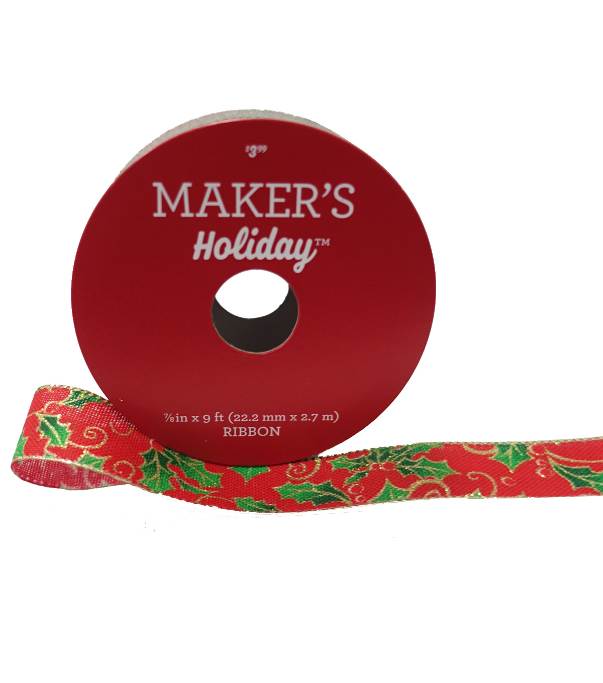 Maker\u0027s Holiday Christmas Ribbon 7/8\u0027\u0027x9\u0027-Green Holly on Red