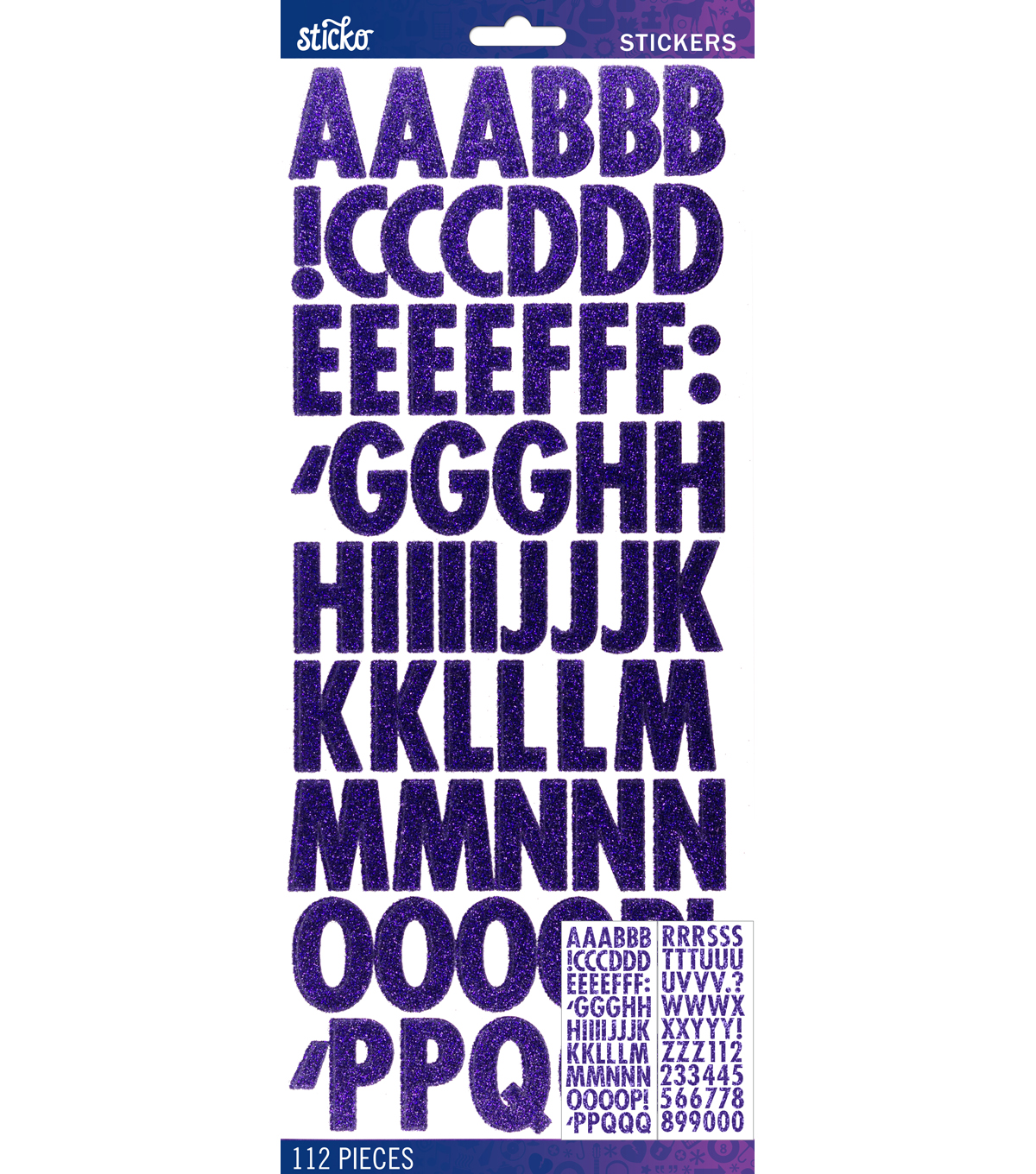 Sticko® 112 Pack Futura Glitter Alphabet Stickers-Purple