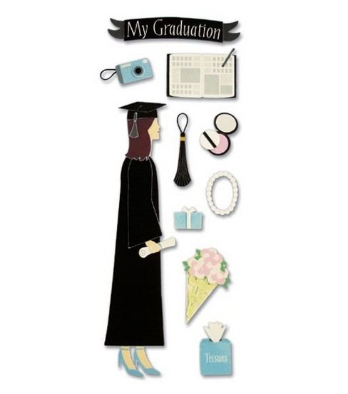 A Touch Of Jolees Dimensional Stickers-Graduation Female