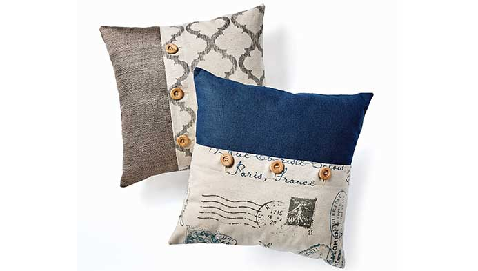 Home Decor Pillow With Button