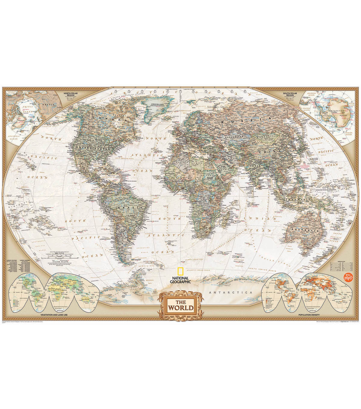 Wall Pops National Geographic Dry Erase World Map Decal, 24\u0022 x 36\u0022