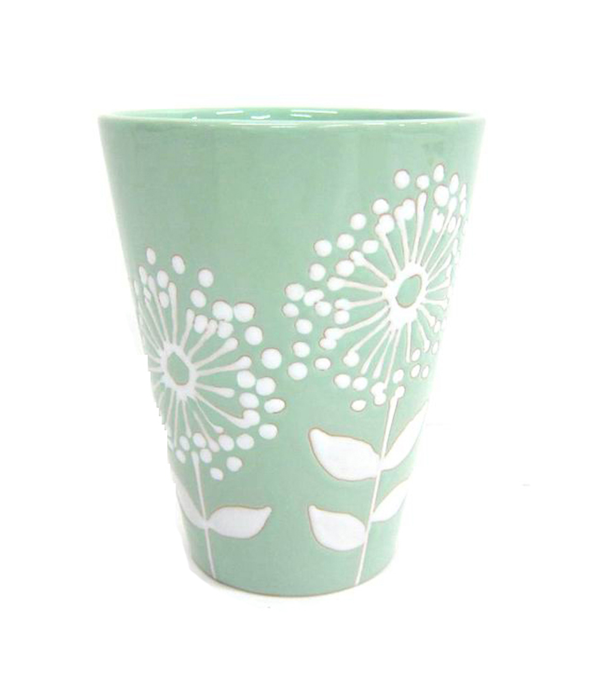 Bloom Room Ceramic Pot-Green With White Flowers