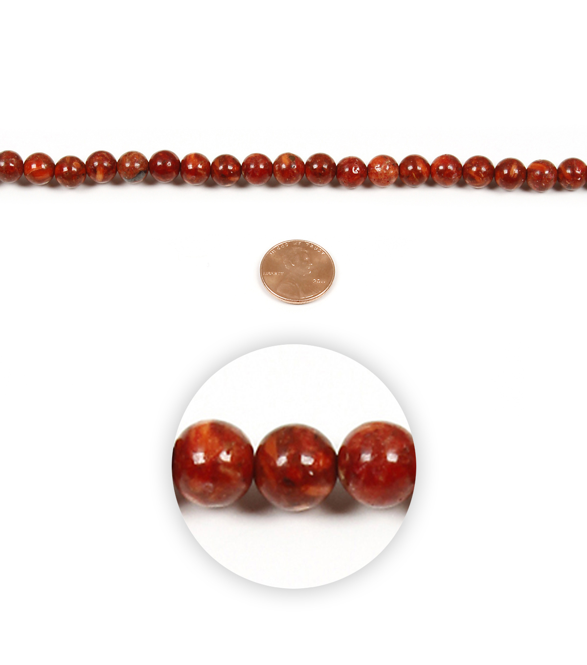 Strand Red Faux Coral round