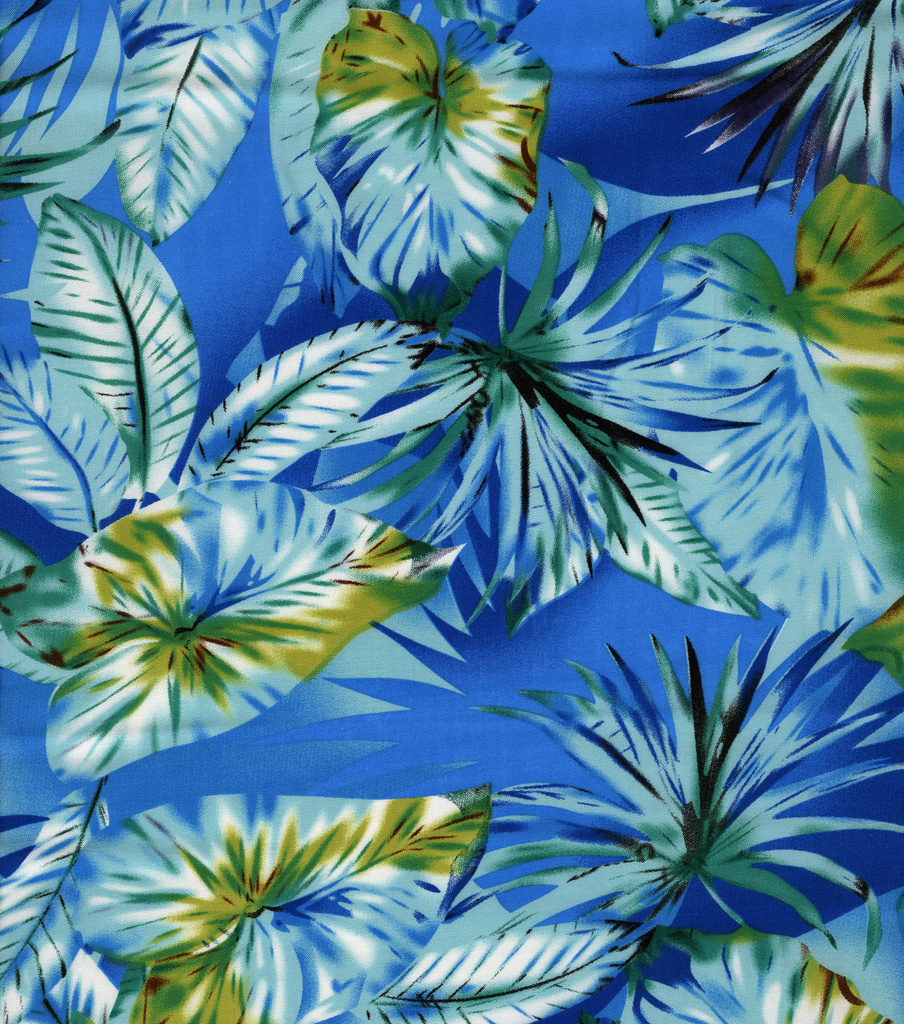 Simply Silky Prints Fabric Palm Rayon Blue