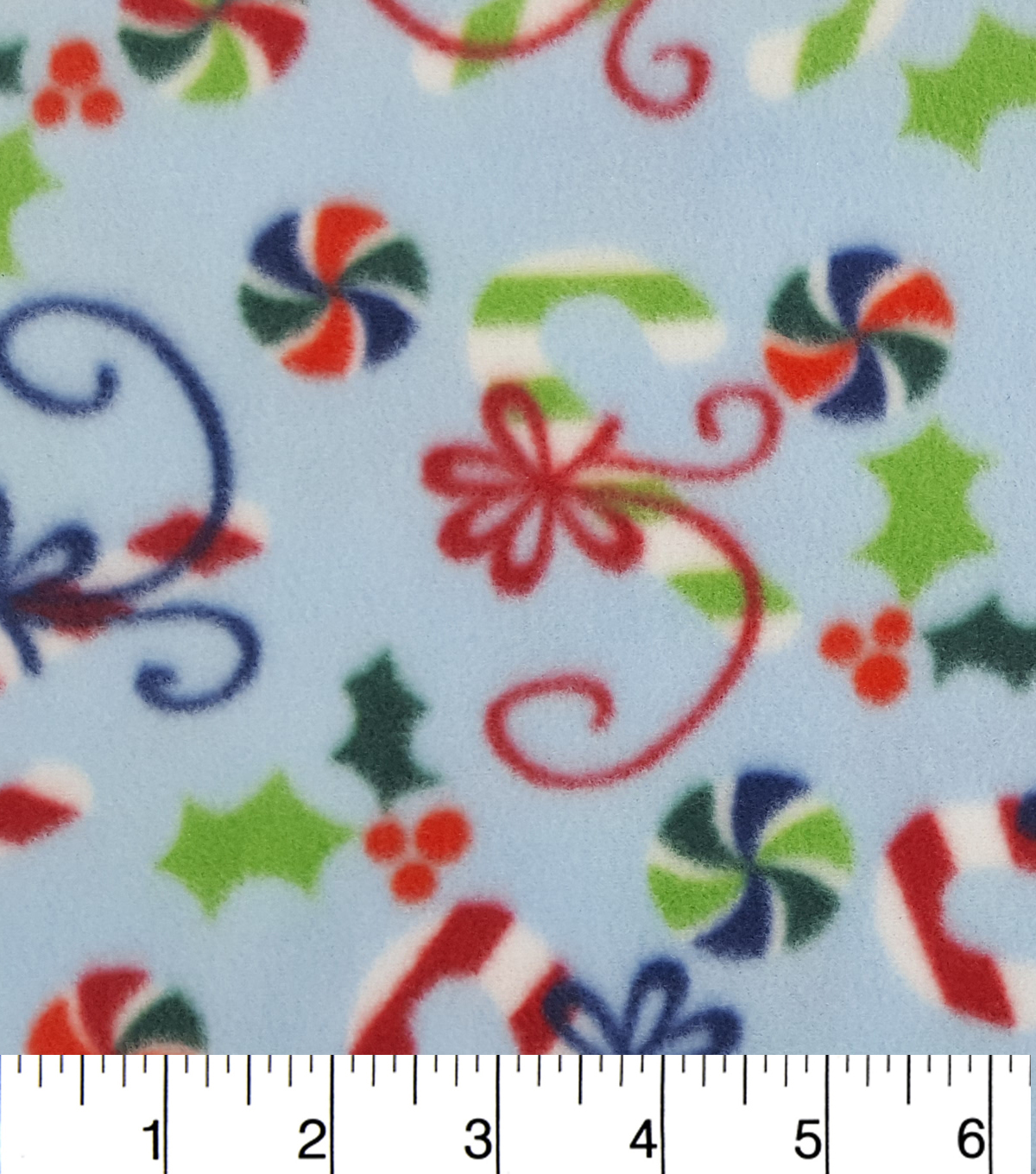 "Maker's Holiday Fleece Fabric 59""-Candy Canes in Bows"
