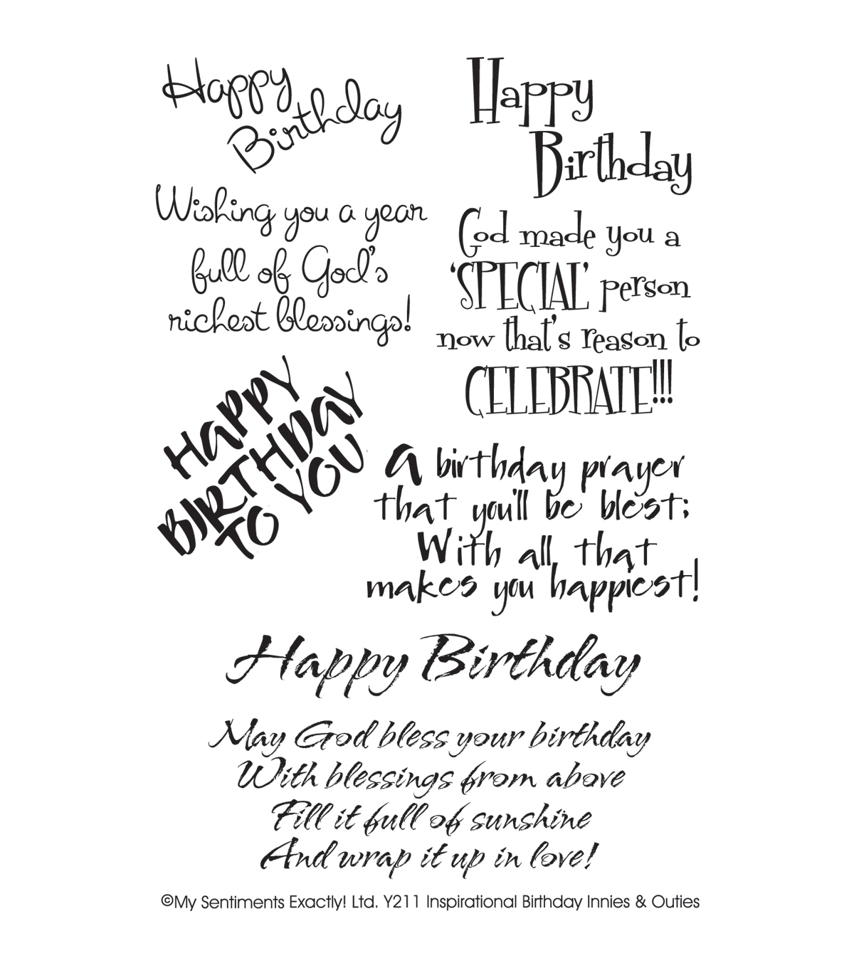 My Sentiments Exactly Clear Stamps 4\u0022X6\u0022 Sheet-Inspirational Birthday