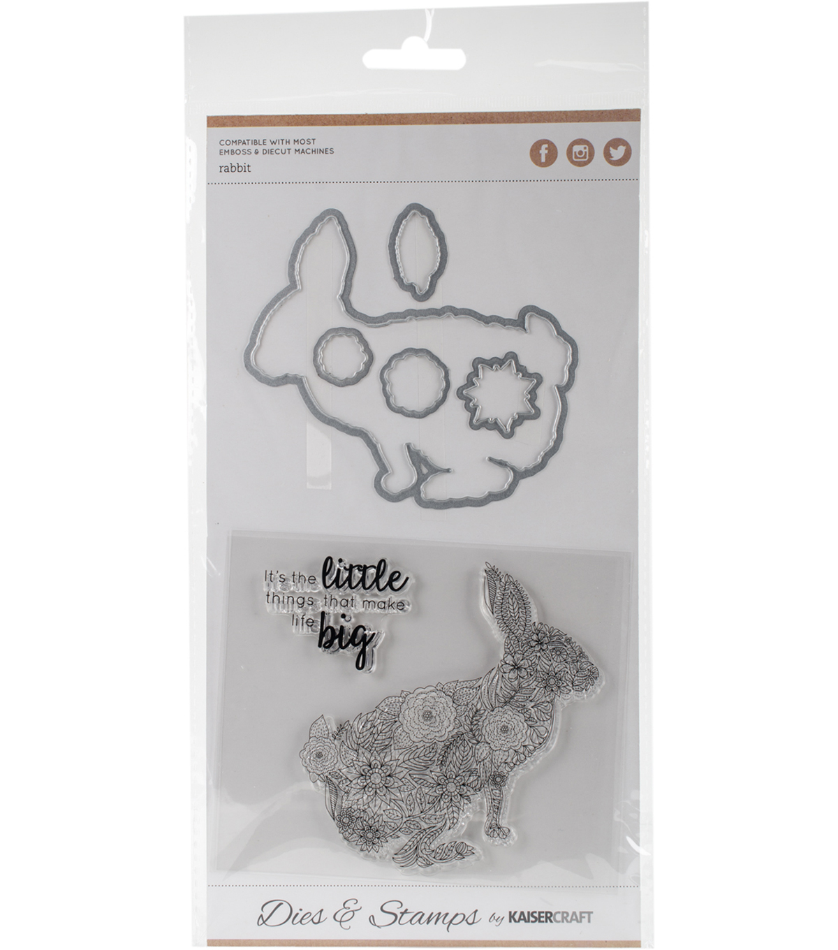 Kaisercraft Dies & Stamps-Rabbit .5\u0022X.5\u0022 To 3.75\u0022X3.75\u0022