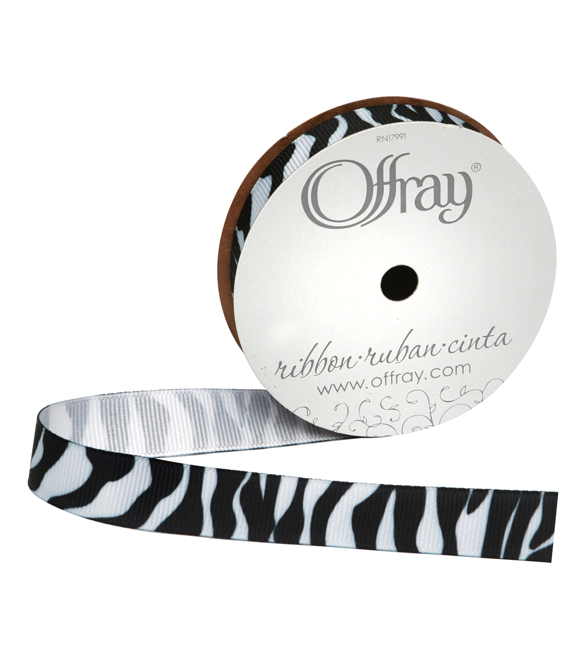 "Offray 5/8""x9' Zebra Animal Print Grosgrain Ribbon-Black and White"