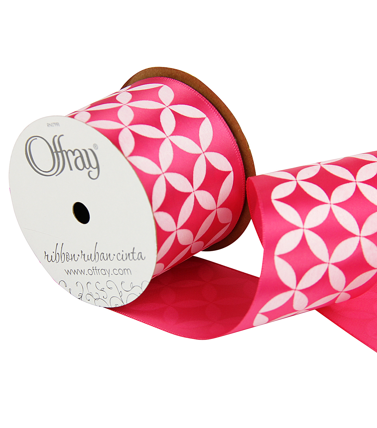 "Offray 2.25"" x 9' Geo Ribbon-Pink/White"