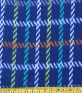 "Blizzard Fleece Fabric 59""-Dino Navy Plaid"