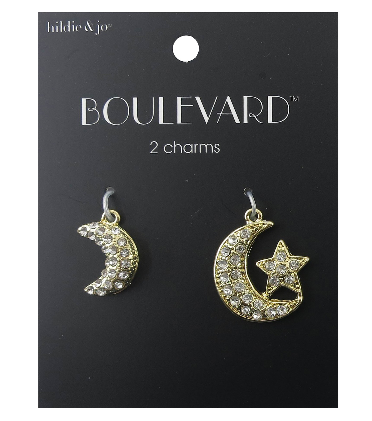 hildie & jo™ Boulevard 2 Pack Moon & Moon with Star Gold Charms