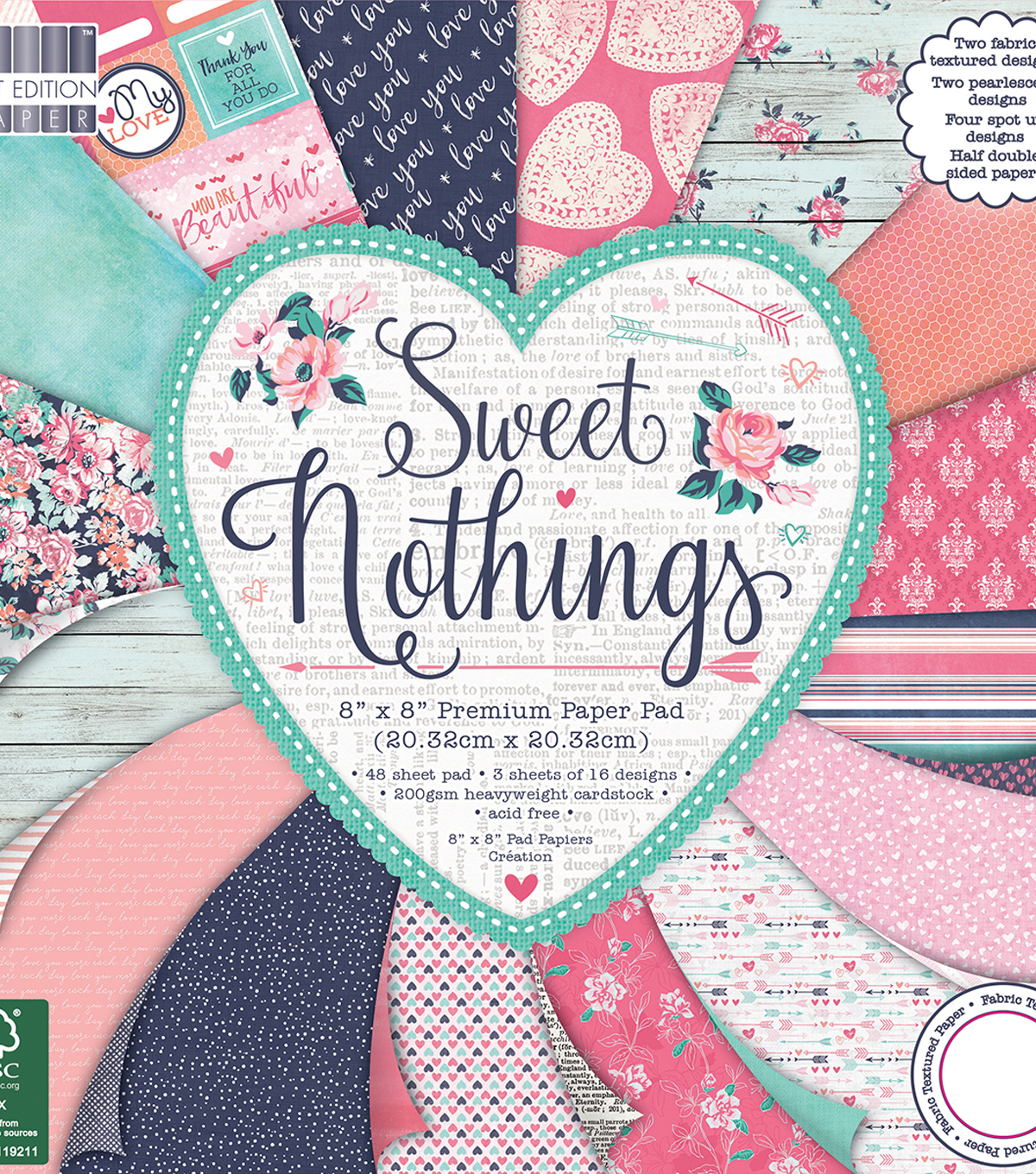 Trimcraft First Edition Amy Sia 8\u0027\u0027x8\u0027\u0027 Premium Paper Pad-Sweet Nothings