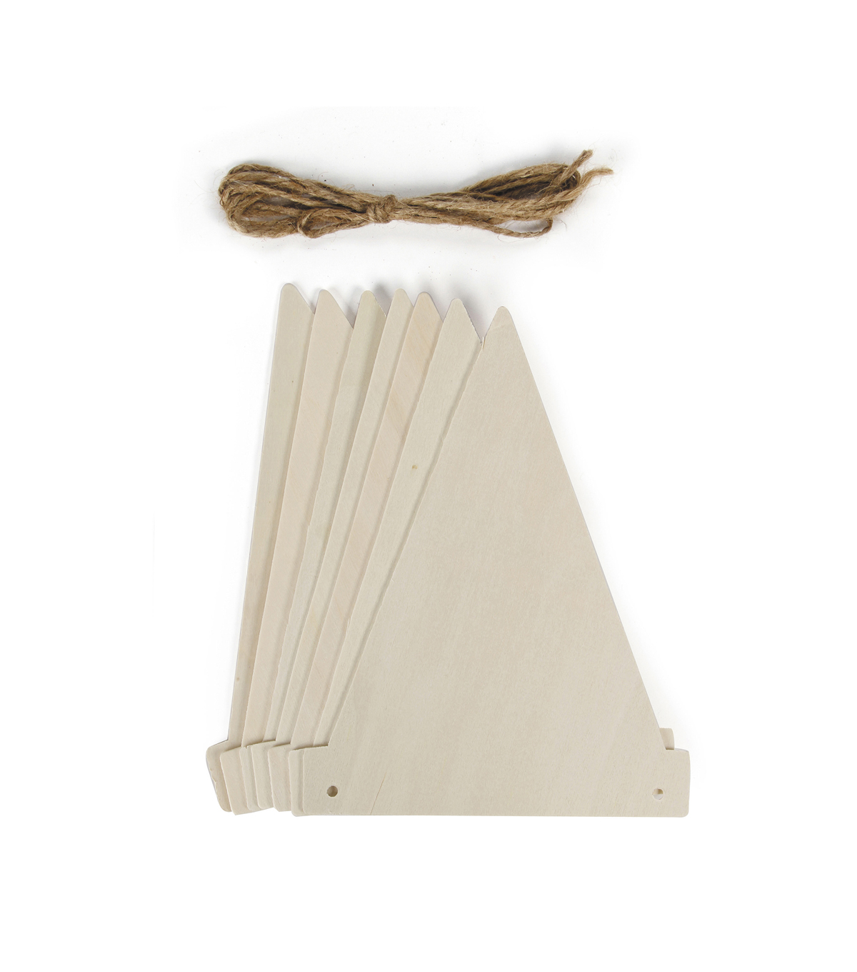 Triangle Wood Pennants With Twine