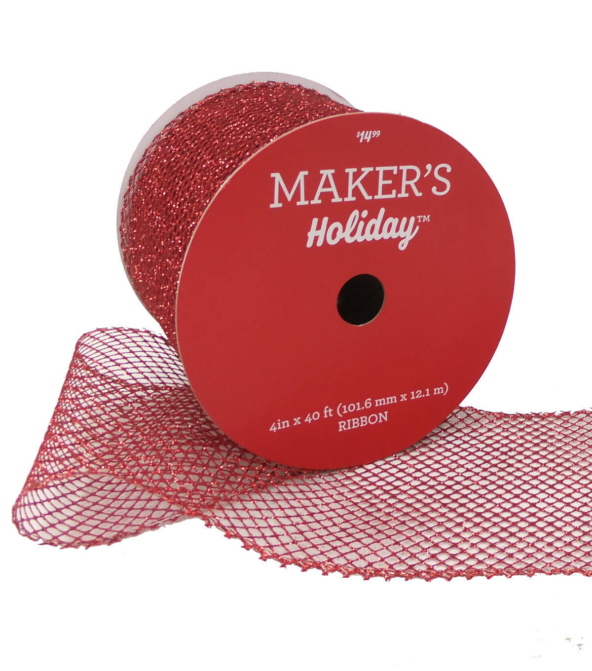 Maker's Holiday Christmas Glitter Mesh Ribbon 4''x40'-Red