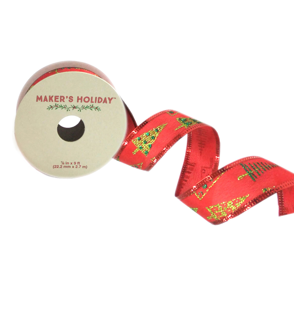 Maker's Holiday 7/8'' X 9' Ribbon-Christmas Tree